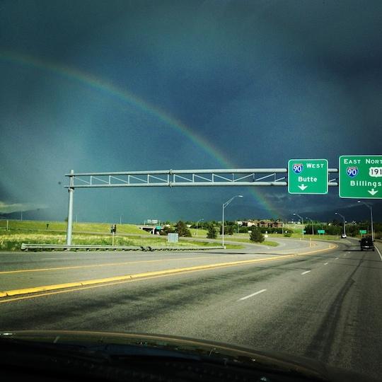Rainbow over I-90 in Bozeman, Montana