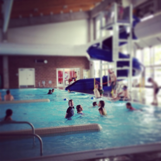 The swimming pool and slide at the Moab Aquatic Center in Moab, Utah.
