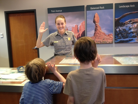 Taking the Junior Ranger oath.