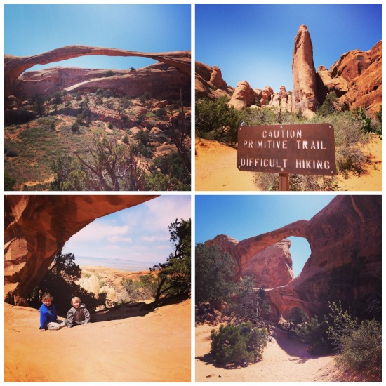 Landscape Arch and the trail to Double O Arch.