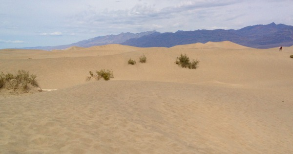 Sand dunes with mountains in the background.