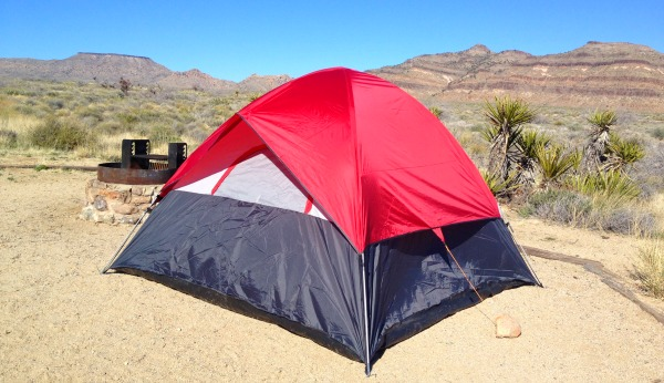 Tent camping in the Mojave desert