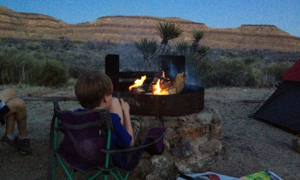 Campfire camping at Hole in the Wall campgound in Mojave