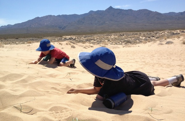 Kids digging in desert sand dunes