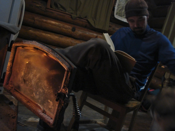 The wood stove heat in Kings Hill cabin, MT