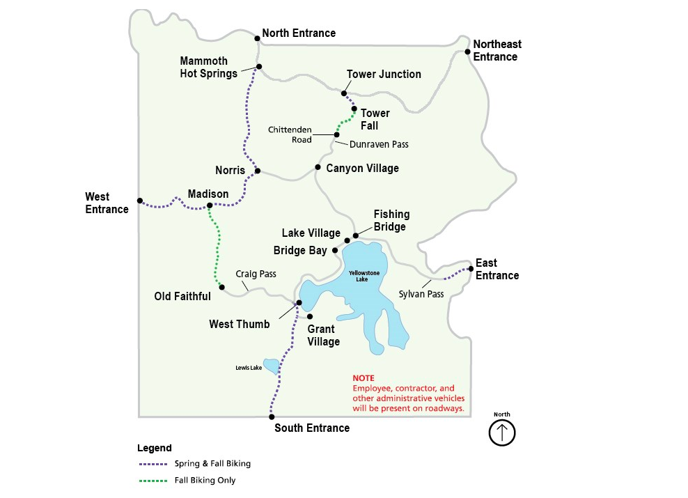where can I ride my bike in Yellowstone? This map shows roads open to bikes in Yellowstone in spring and fall.