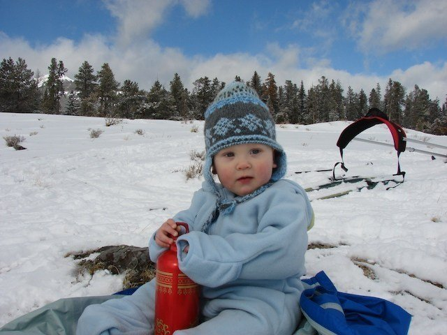 cross country skiing with a baby in montana