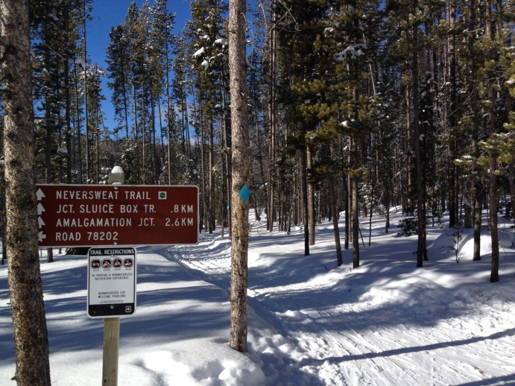 trail sign for cross country skiing at Moultan Reservoir near Butte Montana