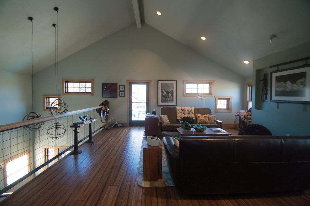 The upstairs sitting area is another spot for guests to relax at a B&B in Livingston, MT