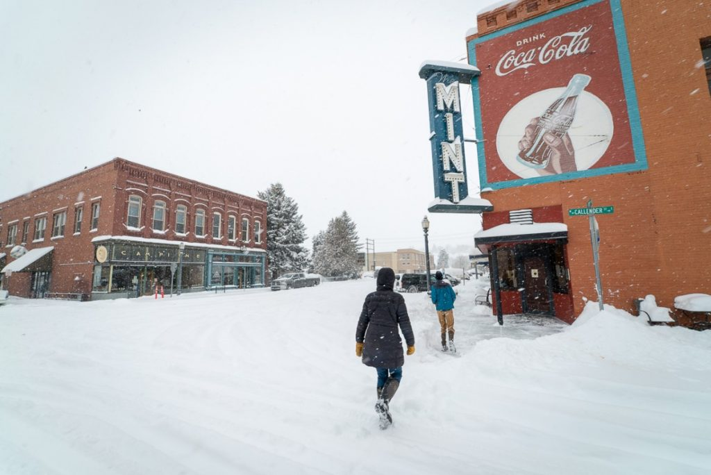 downtown livingston montana in snow
