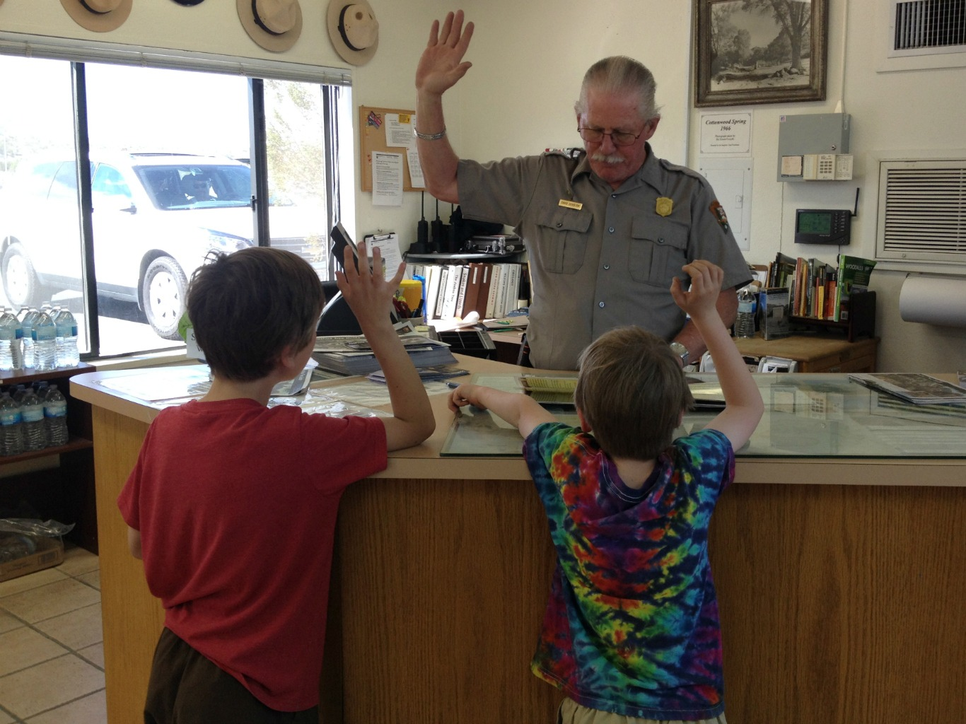 Taking the Junior Ranger oath at Joshua Tree National Park