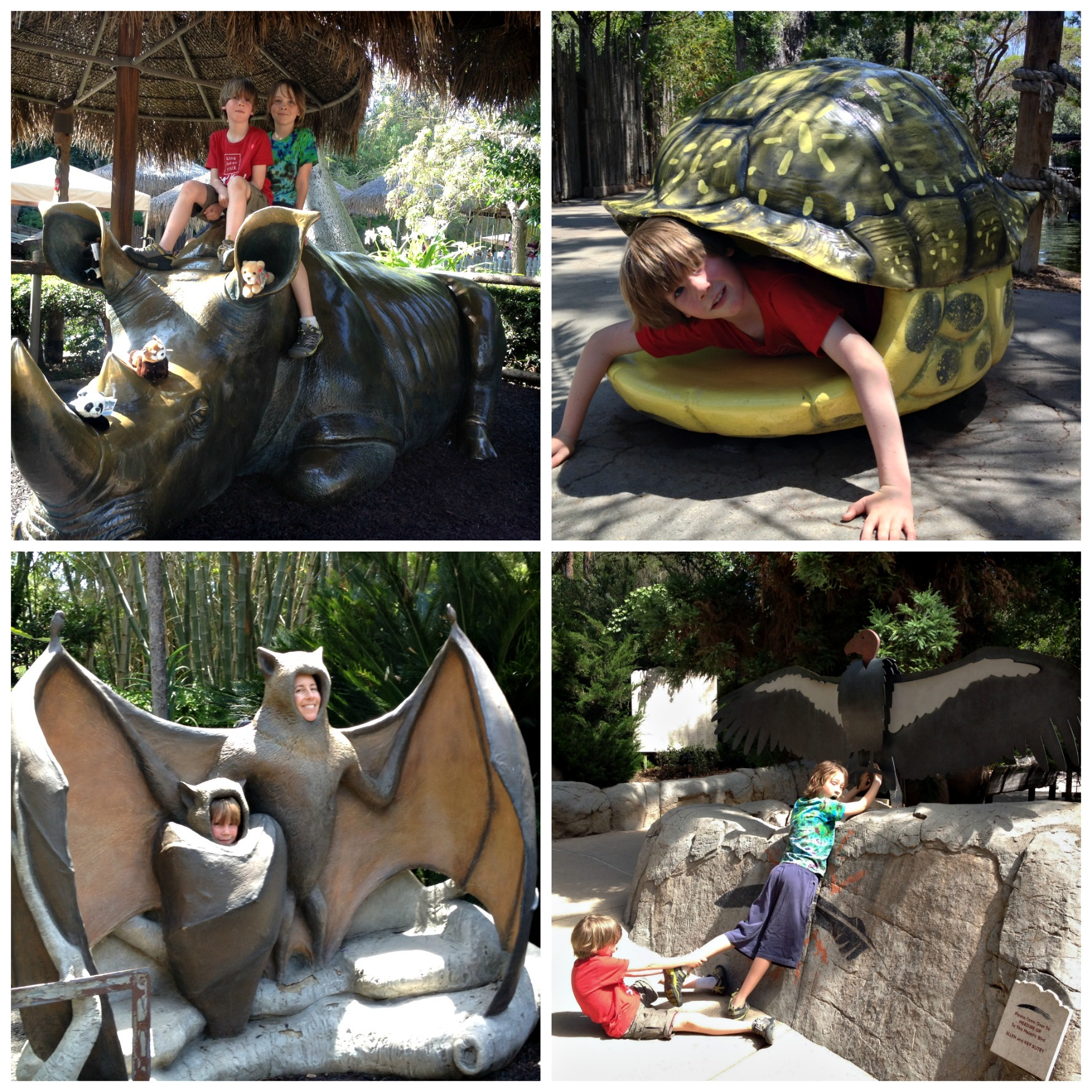Playing while visiting the Safari Park. Animal statues to climb on.
