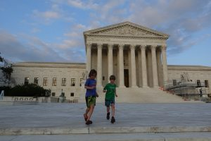Running on the steps of the Supreme Court