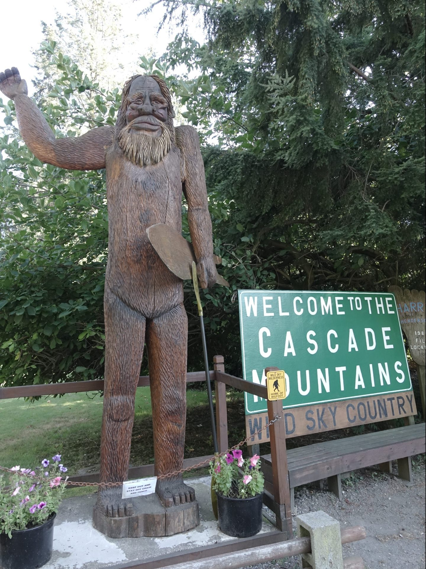 Friendly bigfoot statue on hwy 2 near Index, Washington
