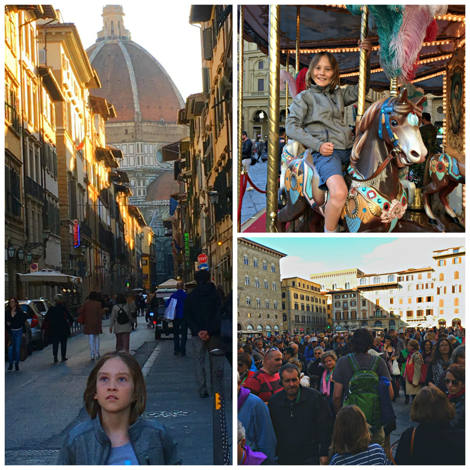 Florence, Italy (Firenze) streets, crowds, carousel
