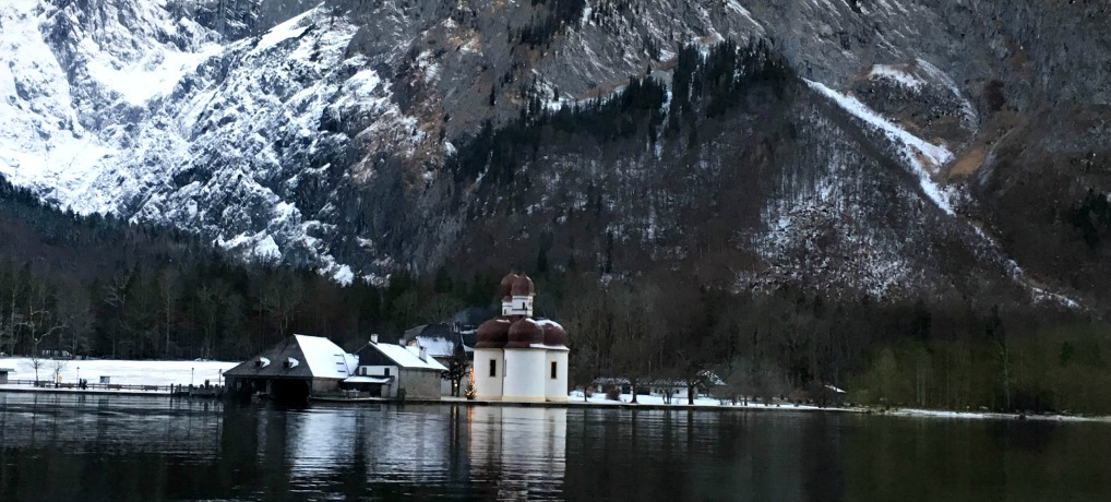 much-photographed baroque church of St. Bartholomä , Berchtesgaden National Park, Germany. Berchtesgaden National Park in Winter