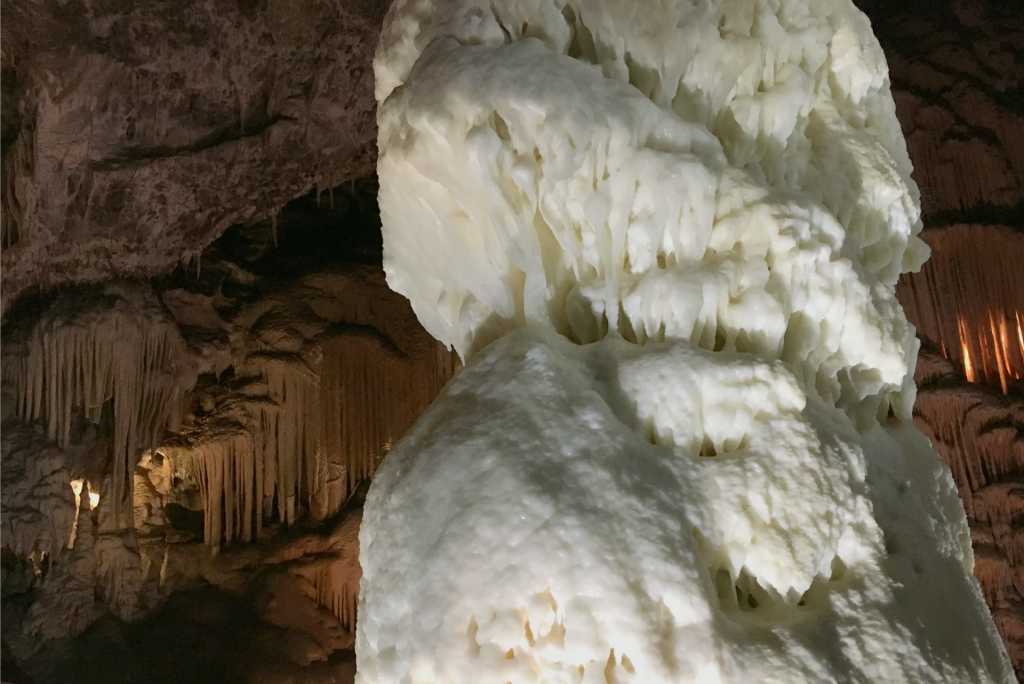white column in Caves near ljubljana slovenia