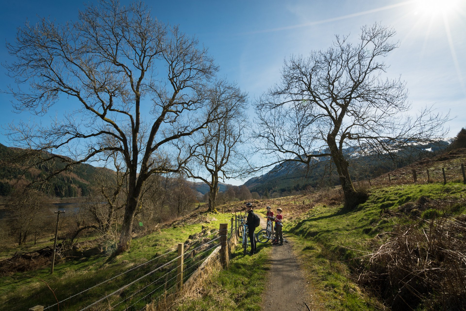 National Cycle Route 7 goes through Loch Lomand and the Trossachs National Park in Scotland