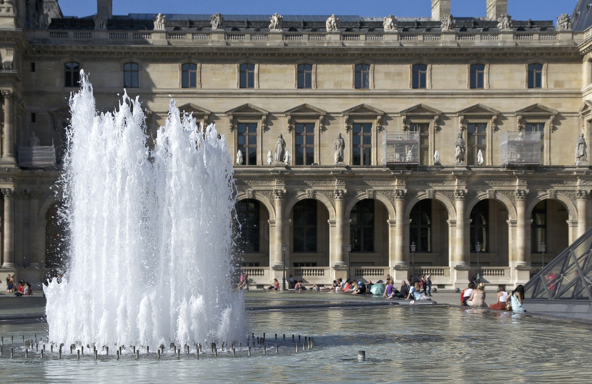 Fountains in the Louvre courtyard
