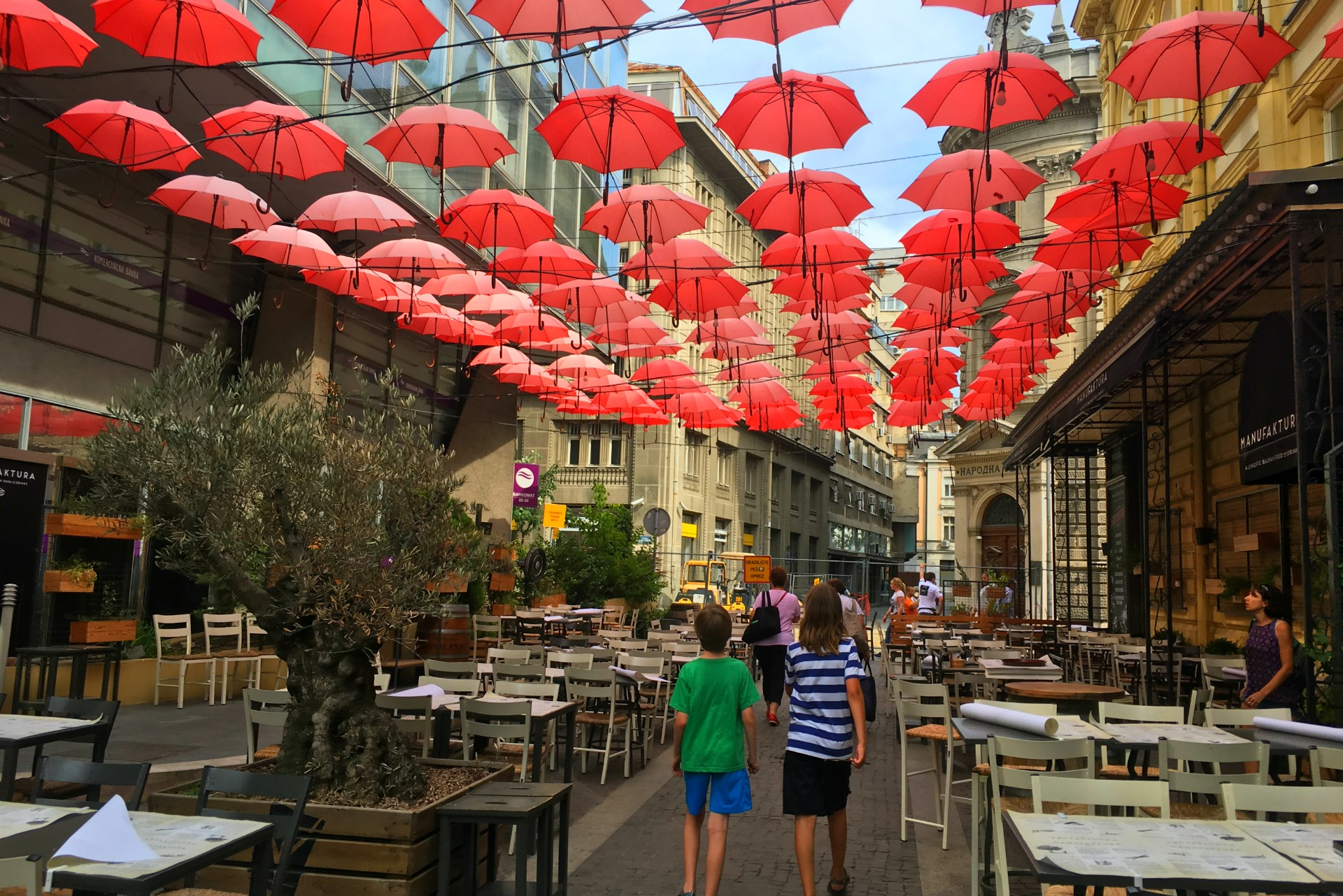 Umbrella shade in Belgrade, Serbia