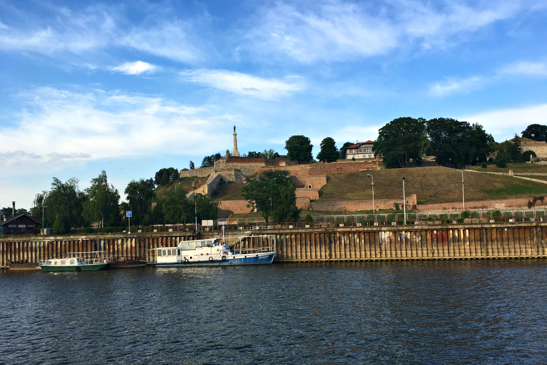 View of the Belgrade Fortress from the Danube River cruise