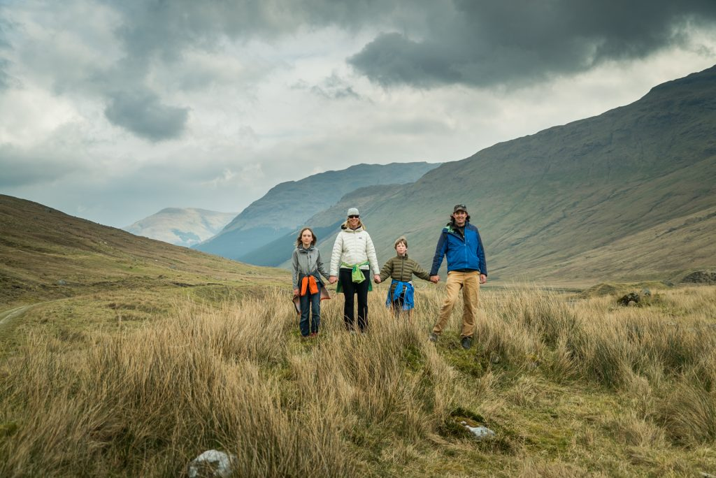 family hike in the Scottish Highlands