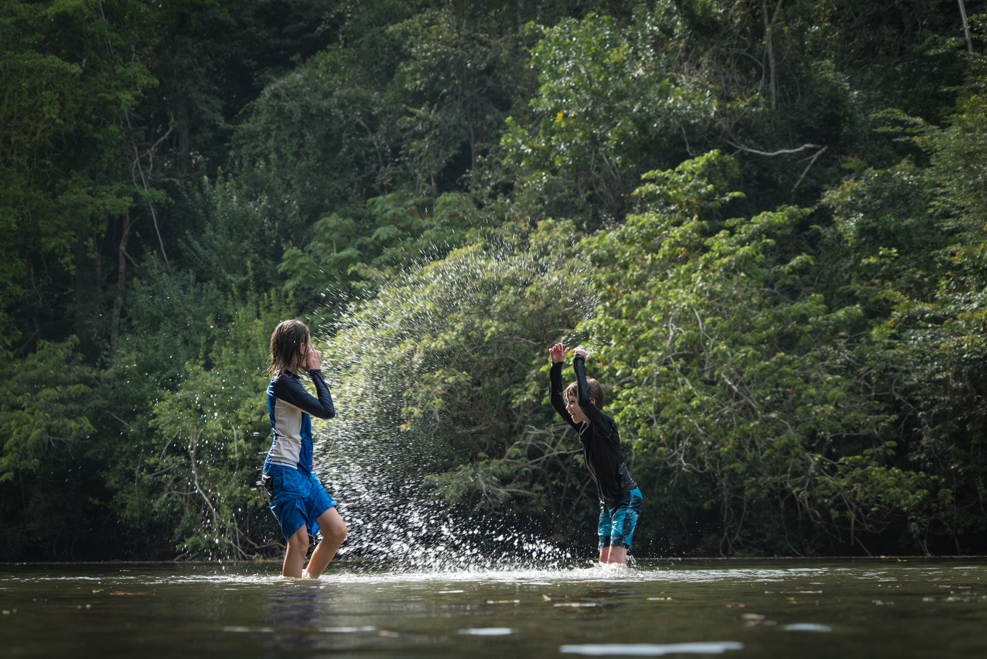 Playing in the Macal River at Jungle Lodges in Belize