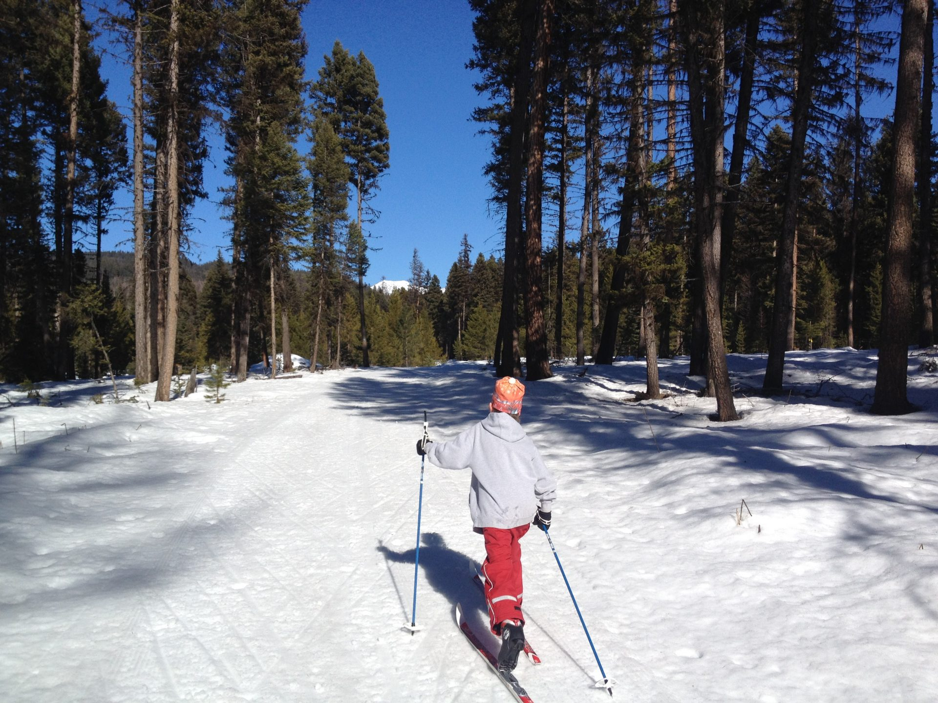 Cross country skiing at Seeley Lake
