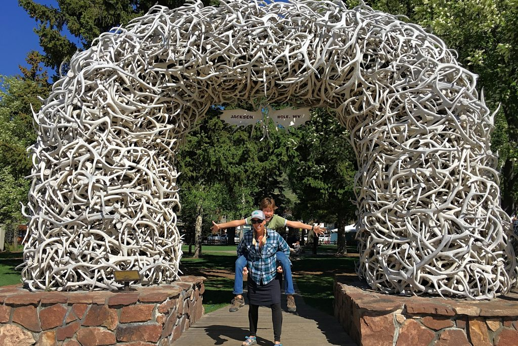 Elk antler arch in Jackson Hole Town Square