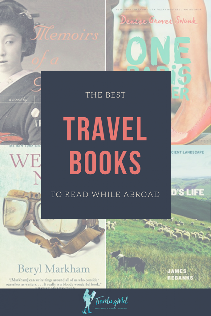 "four book covers with the text ""the best travel books to read while abroad"""