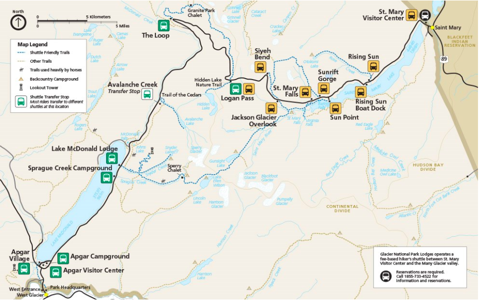 Glacier National Park Shuttle Stops Map