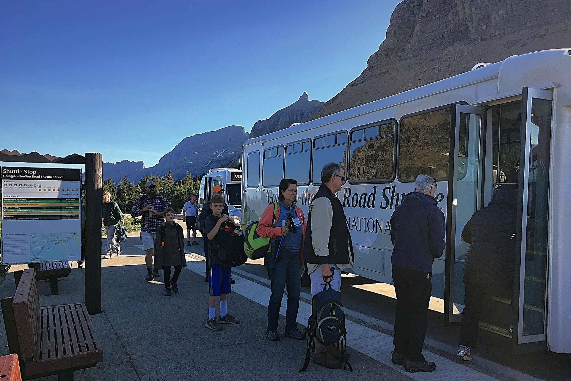 The free Shuttle System is how to get around Glacier National Park