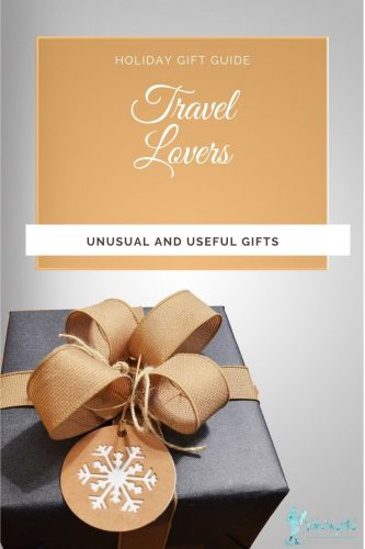 "a black box with a gold bow and text reading, ""Best Gifts for Travel Lovers, unusual and unique gift ideas"