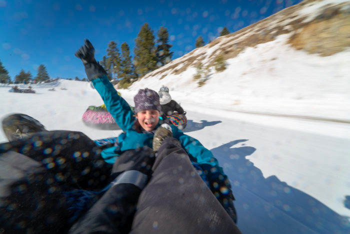 snow tubing at Bogus Basin, Idaho