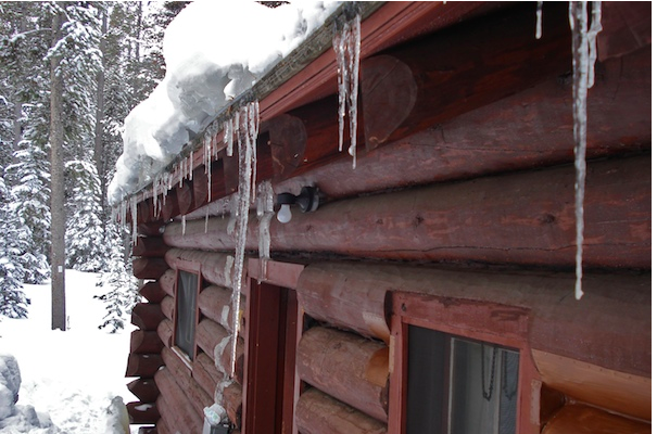 Icicles on the roof of a montana forest service cabin - Kings Hill Cabin