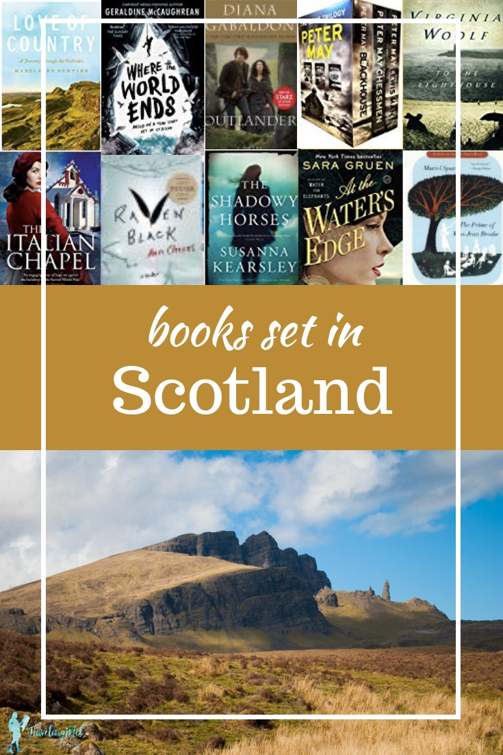 "book covers and Scottish moors with text, ""Books Set in Scotland"""
