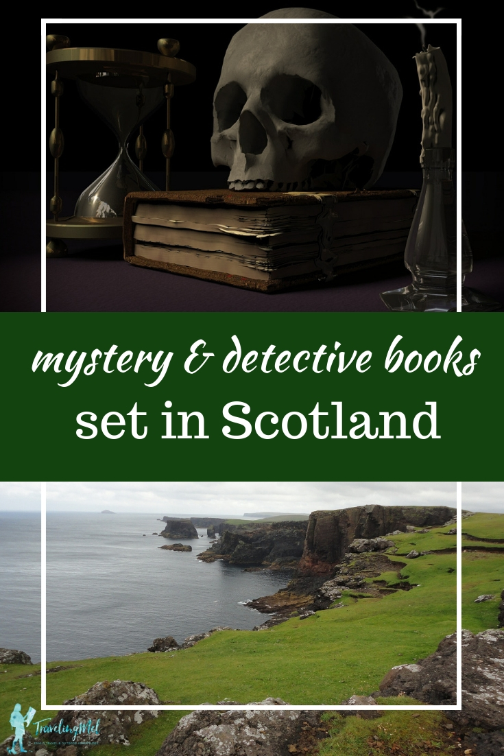 "Picture of skull and Scottish cliffs with text, ""mystery and detective books set in Scotland"""