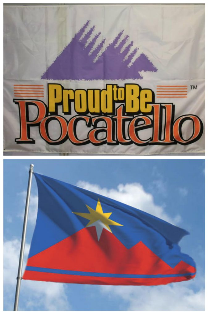 Old and new Pocatello flags