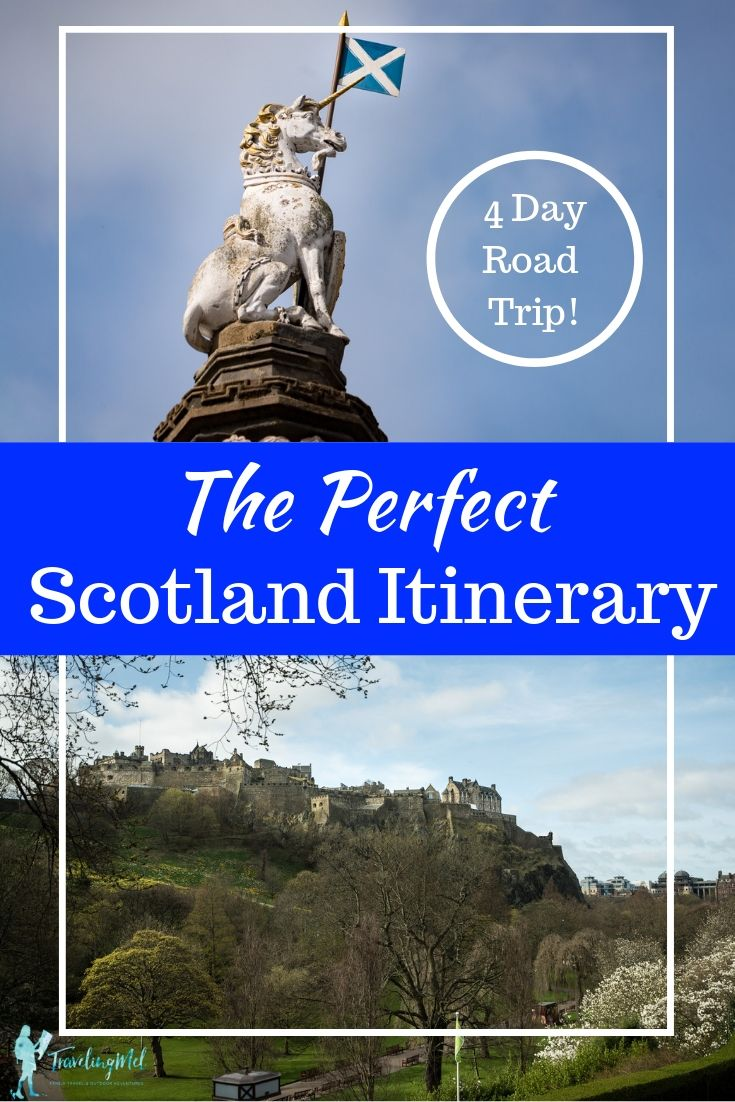 With this Scotland itinerary, 4 days fly by as you drive from Edinburgh to Inverness to Fort William and back, exploring along the way. Included: Edinburgh itinerary, Highlands, the Whisky Trail, Inverness, Loch Ness and the Loch Ness Monster, Urquhart Castle, Fort Augustus, Fort William, Glencoe, Loch Lomond and the Trossachs National Park, Doune Castle, Stirling Castle, Edinburgh Castle. #scotland #travel #highlands #itinerary #roadtrip  | Scotland itinerary road trips | Scotland unmissable itinerary| Travel Itinerary Scotland | Road Trip Scotland | Things to do in Scotland | Glencoe, Scotland | Fort William Scotland | Inverness, Scotland | Edinburgh, Scotland | Scotland, UK | Love Scotland |