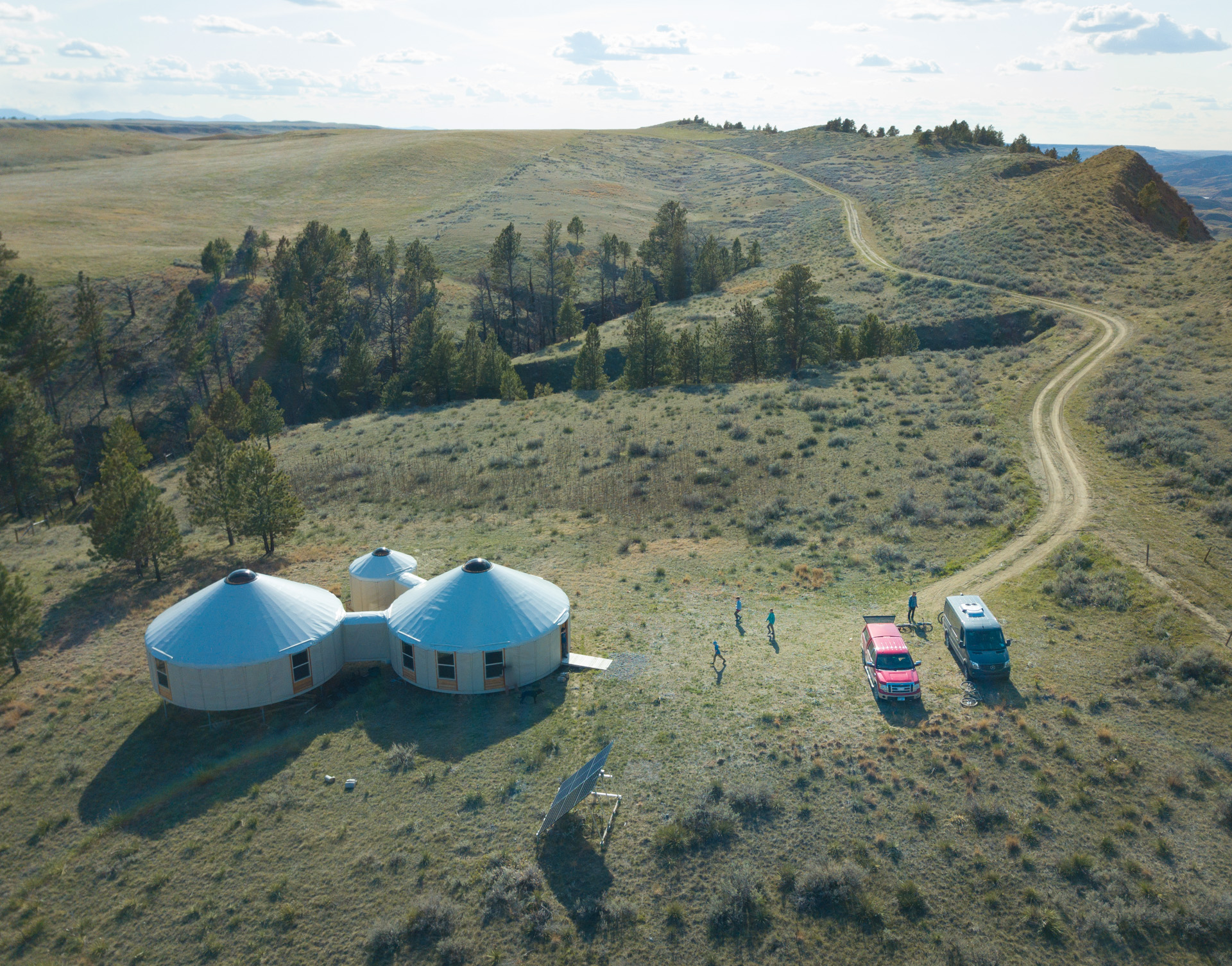 Ariel view of Founder Hut yurts in Montana on American Prairie Reserve