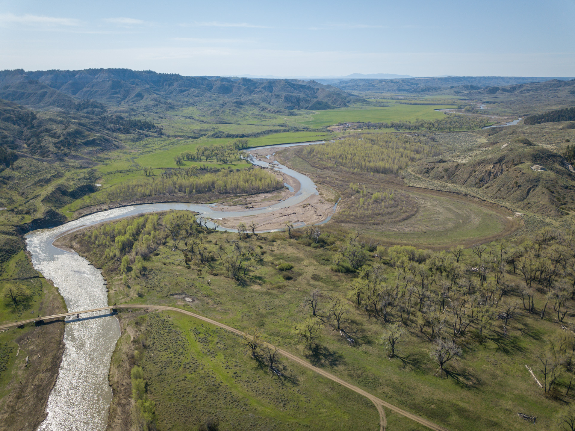 aerial view of Judith River and American Prarie Reserve