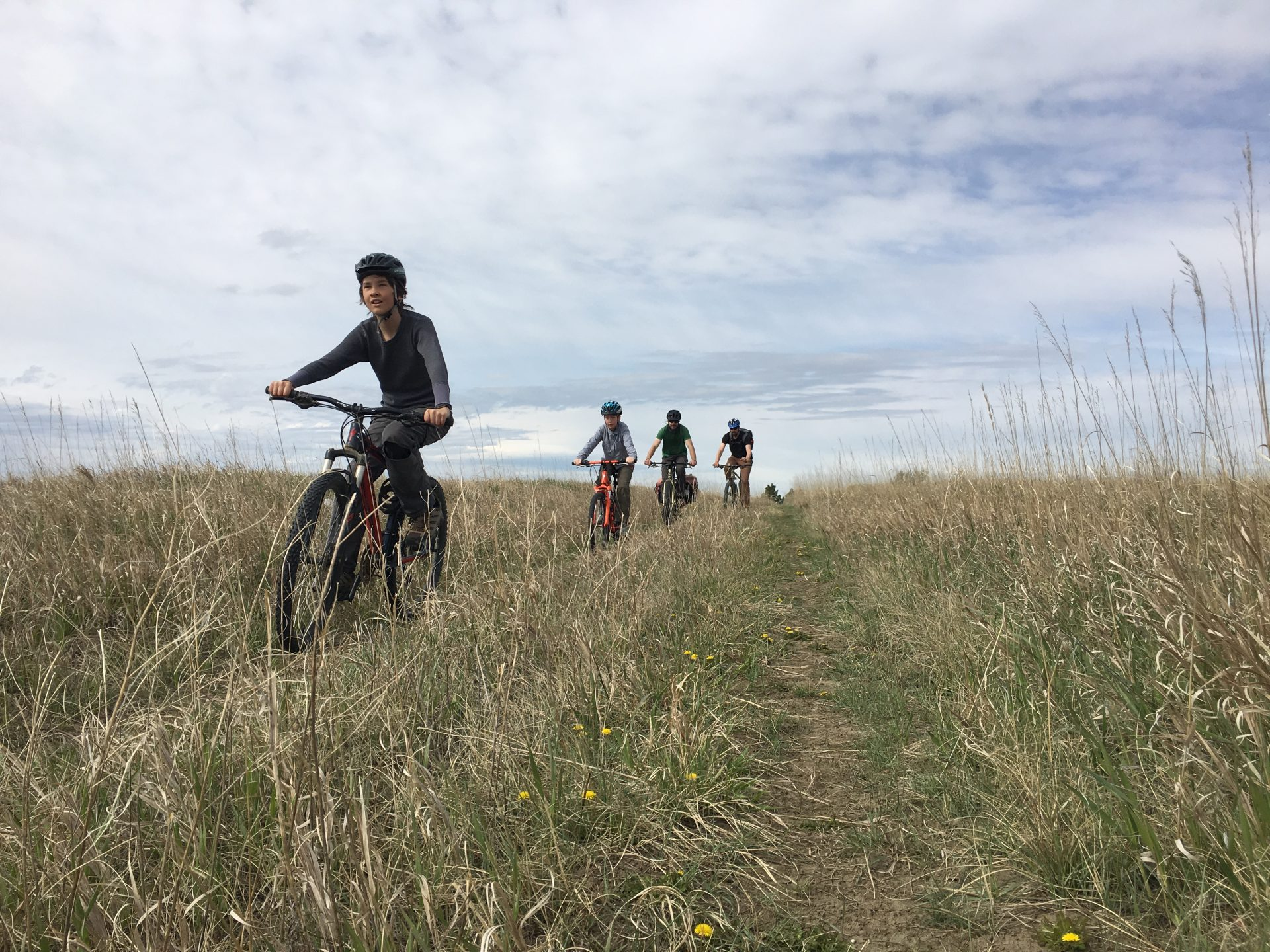 kids riding bikes in Montana