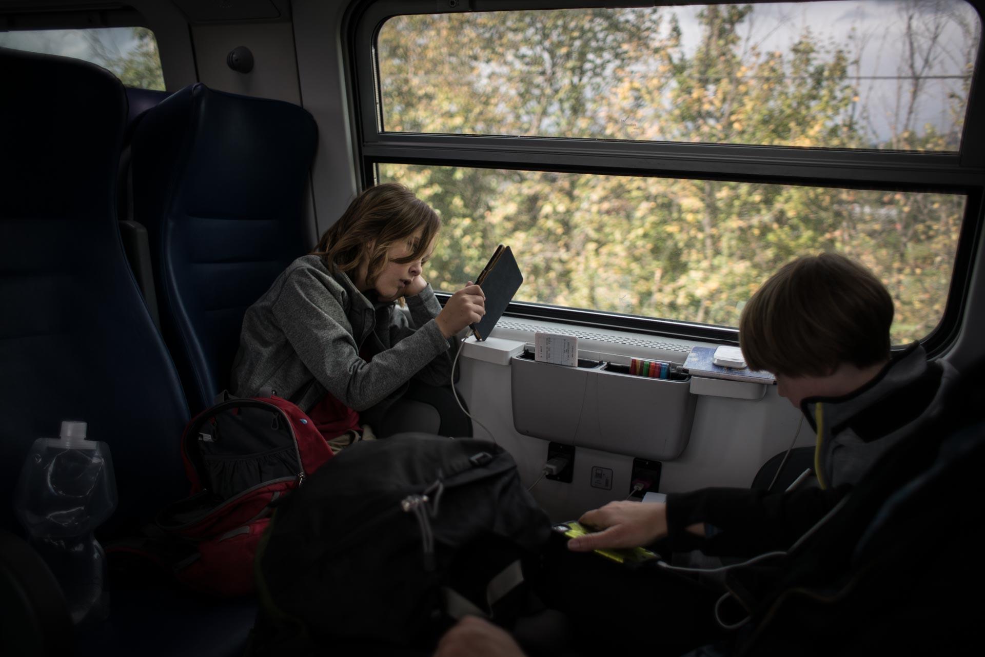 eco friendly travel on a train