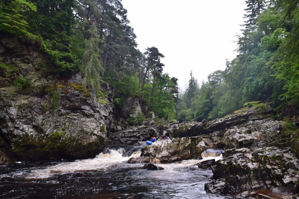 One of the best things to do in Aviemore is white water rafting on the River Findhorn