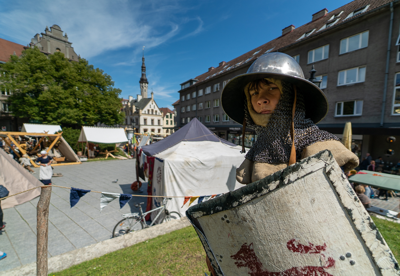 boy dressed in medieval costume in tallinn estonia