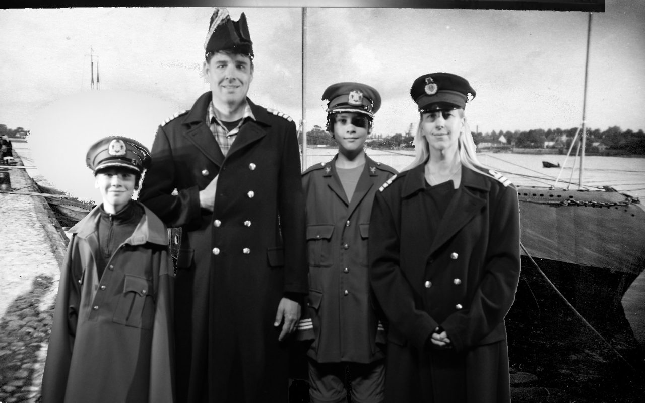 Old timey photo of sailor family from the Seaplane Harbor Museum in Tallinn Estonia
