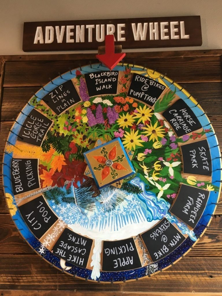 Adventure wheel at Whistlepunk Ice Cream in Leavenworth Washington