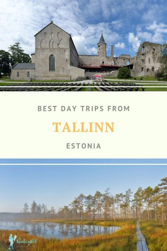 "castle and bog with text ""best day trips from Tallinn Estonia"""