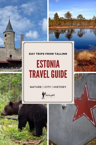 "a castle, a bog, a bear, a Soviet star with text ""Estonia Travel Guide"""