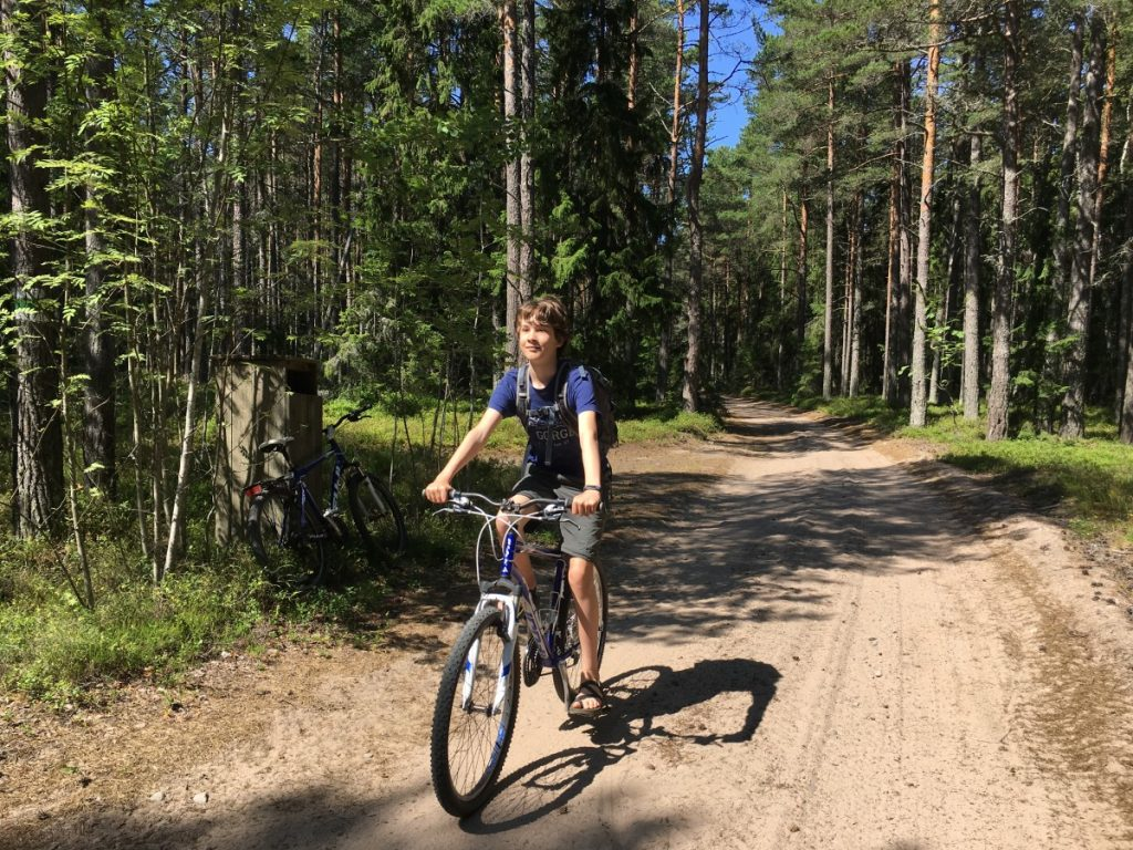 bike riding on Naissaar, an island you can visit from Tallinn, Estonia